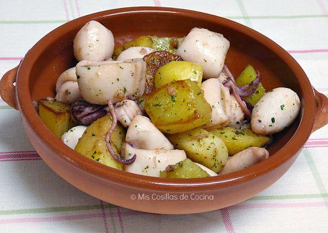 Chipirones con patatas al ajillo - Mis cosillas de Cocina