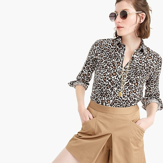 a90782445 Slim perfect shirt in leopard print linen-cotton : Women button-front | J. Crew