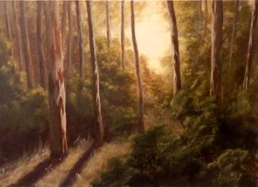 "Saatchi Art Artist ΑγγελικΗ  Aggeliki; Painting, ""Afternoon in the forest"" #art Size: 50 H x 70 W x 2 cm - NOT AVAILABLE"