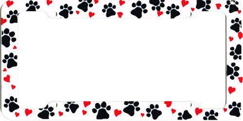 Cute Dog Paw Print & Hearts Car License Plate Frame