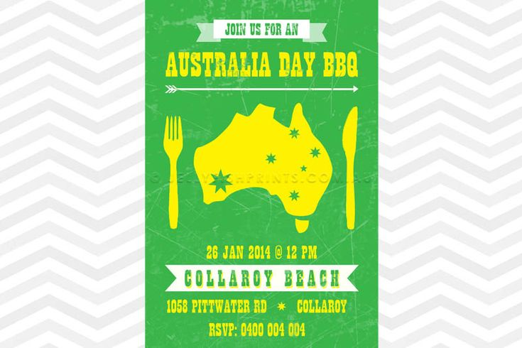 Green and gold Australia Day invitation