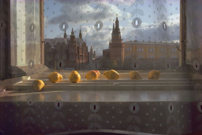 Seven pears... This photo, taken by Sam Abell in Moscow in 1983, shows the afternoon light falling on a windowsill filled with pears.