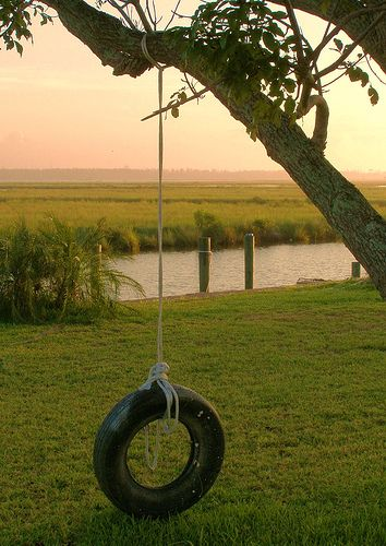 Tire Swinging with a view! Aww, wish all kids knew a childhood like this. #memories