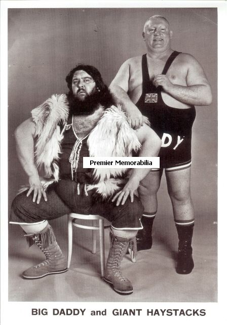 My nan used to watch this every Saturday afternoon... well there was only 3 channels then. Fat old men sitting on each other. - WORLD OF SPORT (UK TV series) Wrestling with Giant Haystacks and Big Daddy, 1965 - 1985