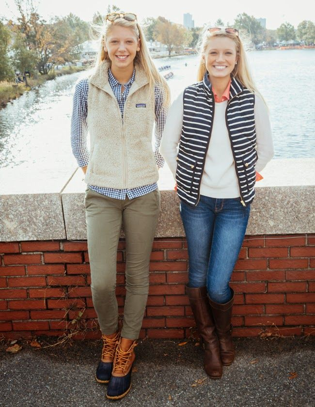 Two examples of neutrals and blue and white stripe fall/winter attire