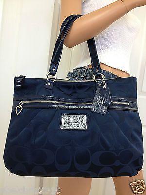 Nwt Coach Khaki Blue Signature Poppy Style Large Handbag Tote Shoulder Bag Purse