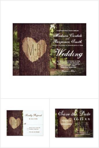 Carved Heart Rustic Tree Wedding Invitation Set