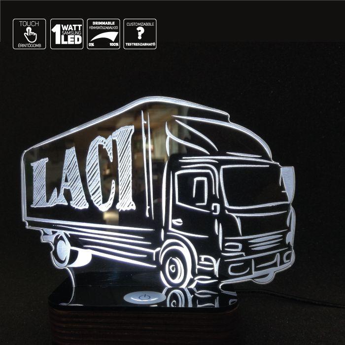 Egyedi lámpa Kamionosoknak dekoráció LED világítással Különleges Lámpa amely egyedileg készül, világító dísz a kamionba ami egyben éjjeli lámpa ként is működik, vagy folyamatosan világít Fényereje szabályozható érintésre, és ki be kapcsolható. Az alakzat egyedileg rendelhető amit az feltüntetett Ár tartalmaz. A világító modul az egyetlen ami fix, minden más testre szabható, válassz az alakzatokból, …