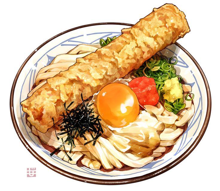 「釜玉うどんwith竹輪天」/「もみじ真魚」のイラスト