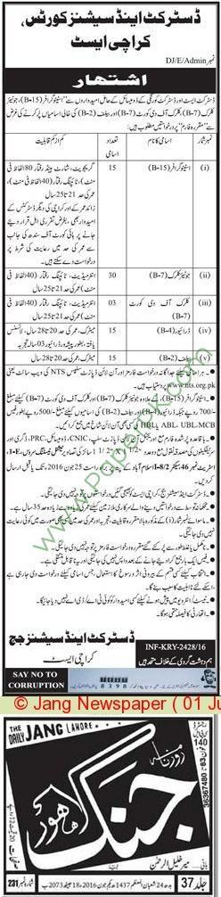 District & Session Court Karachi Jobs For Stenographer Junior Clerks | Government Jobs