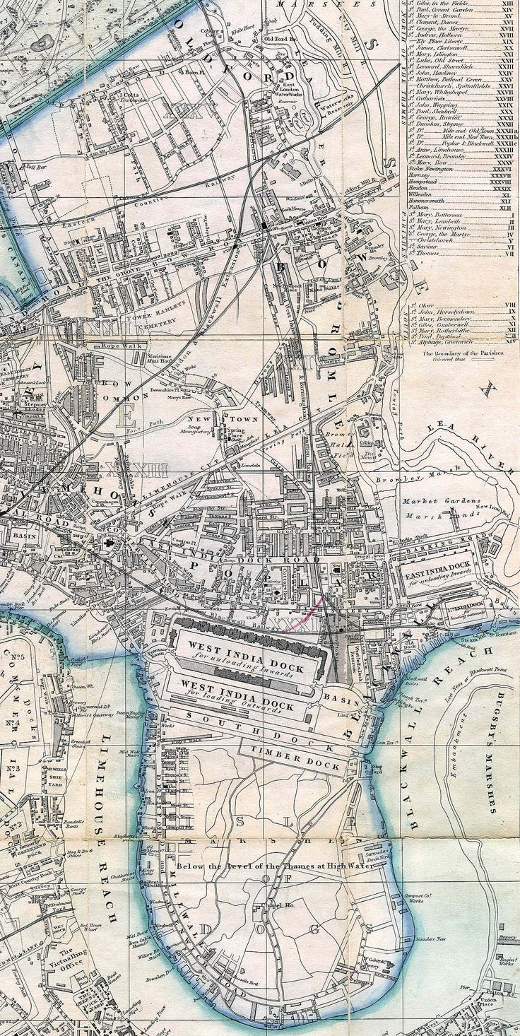 """1861 - Old Ford, Bow (Cross, """"New Plan of London"""")"""