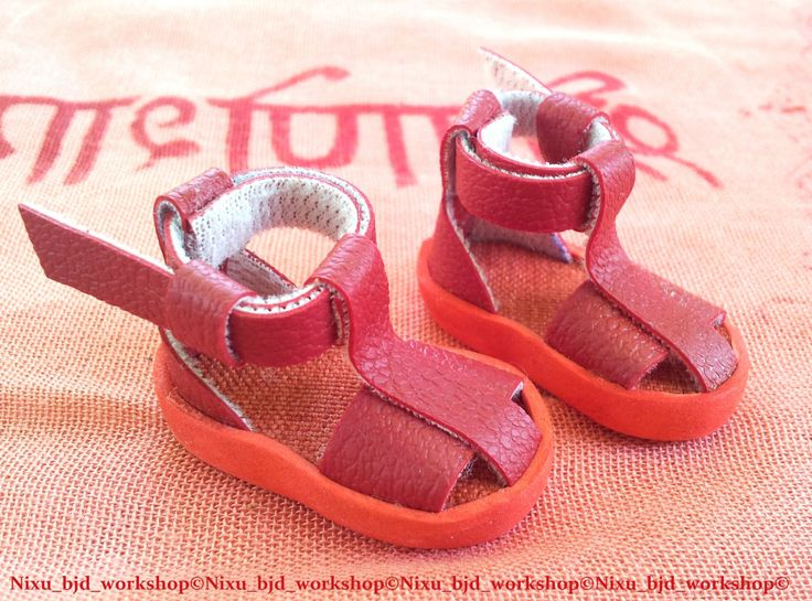 "Handmade Sandals for Hujoo BJD Dolls ""Red"" by NixuBJDWorkshop on Etsy"