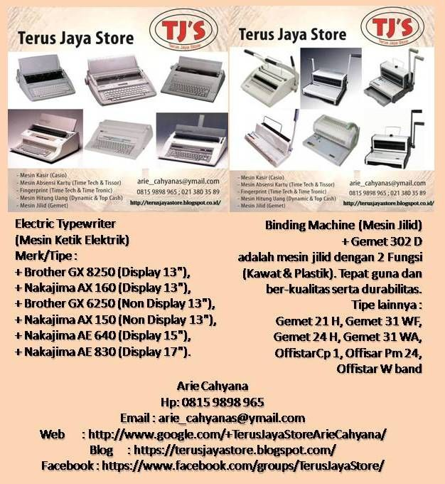 Other products are : 1.Cash Register (Casio)  2.Electric Time Recorder (TimeTech,Cooper)  3.Biometric Time Attendance (TimeTech,Secure,TimeTronic)  4.Electric Typewriter (Nakajima & Brother)  5.Binding Machine (Gemet,Offistar)  6.Money Counter  Machine (Dynamic,Secure,TopCash)    7.Laminiting Machine (Offistar,Dynamic) 8.CCTV (Avtech)  Do not hestitate to contact us : TerusJayaStore  +628159898965/arie_cahyanas@ymail.com   #jakarta #tangerang #indonesia #followme #like4like #instagram #line