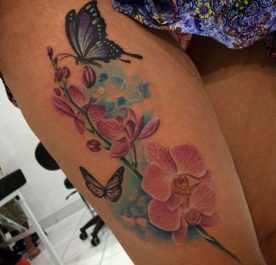 Orchidee Tattoos - 25 Ideen, Bedeutungen und Entwürfe Mehr