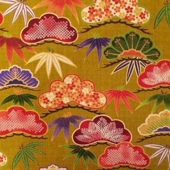 Tissu japonais coton dobby ocre motifs de feuilles