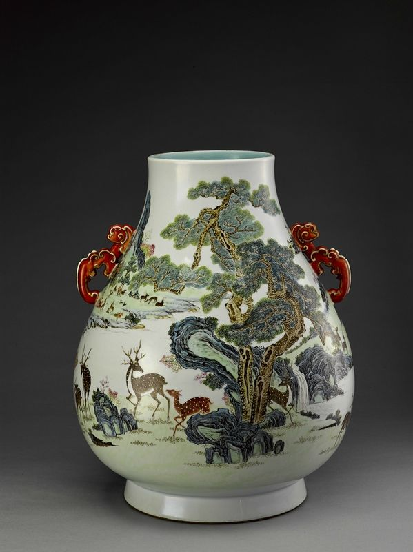 """A magnificent famille-rose """"hundred deer"""" vase, Qianlong mark and period (1736-1795)"""