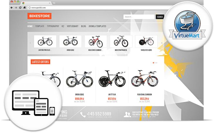 Bike Store - Professional eCommerce Web Design Joomla 2.5 Templates, Joomla Themes, Joomla Design Shop, Modules and Free Extensions