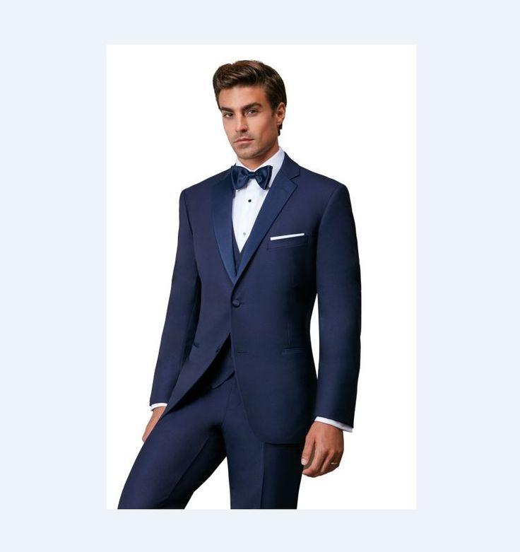 New Arrival Groomsmen Notch Satin Lapel Groom Tuxedos Navy Blue Men Suits Wedding Best Man Blazer (Jacket+Pants+Tie+Vest) B946 #Affiliate