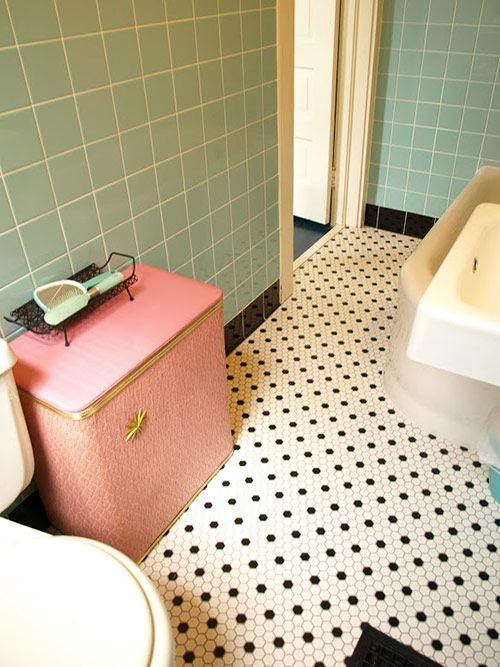 Vintage bathroom makeover from Retro Renovation. Pinned by Secret Design Studio, Melbourne.  www.secretdesignstudio.com