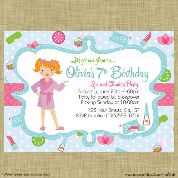 21 best Spa and Slumber Party Invitations and Decor images on - best of birthday invitations sleepover party