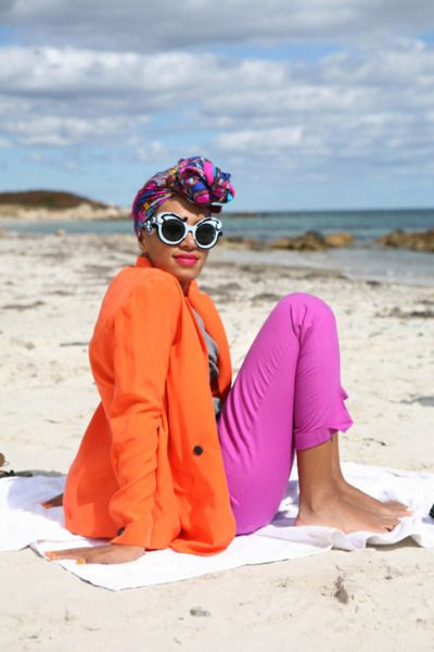 Bright color blocking, head scarf, Pravda shades