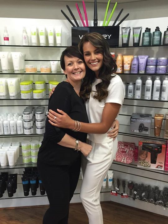 Miss World 2014 - Rolene Strauss with her hair stylist, Freya. GRH are proud to be associated to such an amazing role model
