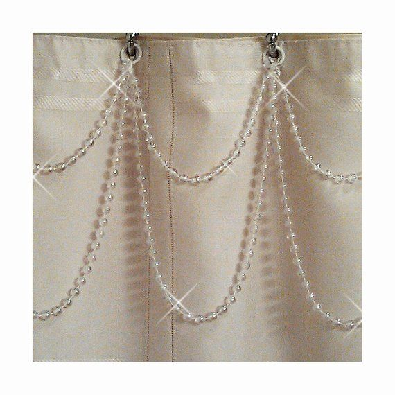 Pearl Resin Double Swag Shower Curtain Beaded Accessory Elegant