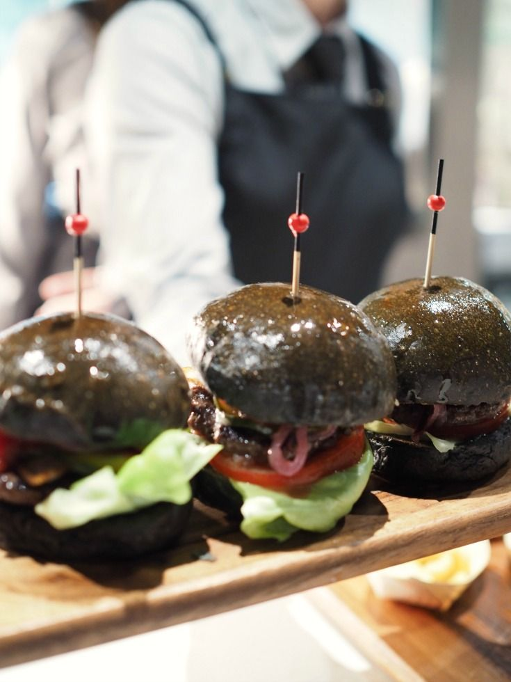 Wagyu sliders on charcoal brioche buns  at Temple brewing Company in Brunswick, Melbourne