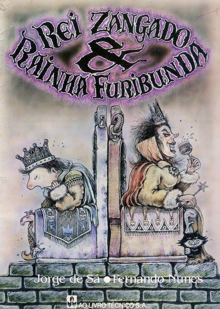 """Livro Infantil Antigo (1988): """"Rei Zangado & Rainha Furibunda"""", de Jorge de Sá"""