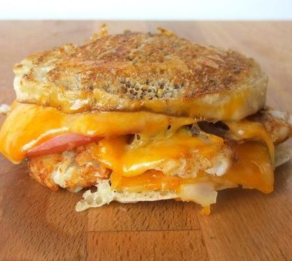 Grilled Cheese with Pork Roll, Tater Tots + Colby Jack Cheese