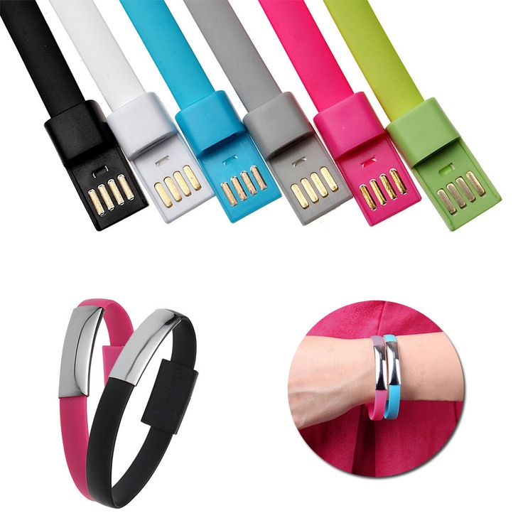 New Wristband Bracelet Style Cord TPE Flat 8 Pin USB Data Sync Portable Charging Cable for iPhone 6 6 Plus 5/5S/5C For iPad Nano
