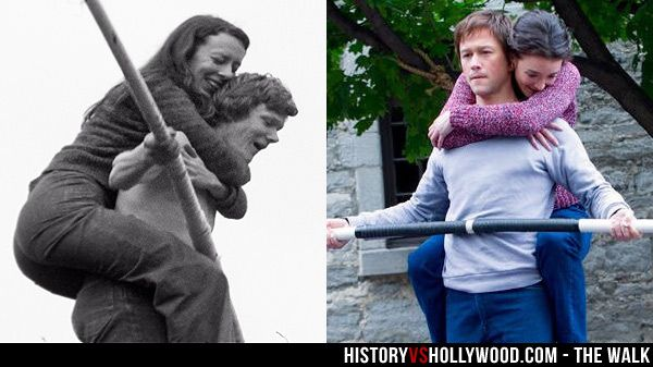 """High-wire artist Philippe Petit and girlfriend Annie Allix. Joseph Gordon-Levitt and Charlotte Le Bon portray Petit and Allix in The Walk movie. Read """"The Walk: History vs. Hollywood"""" http://www.historyvshollywood.com/reelfaces/the-walk/"""