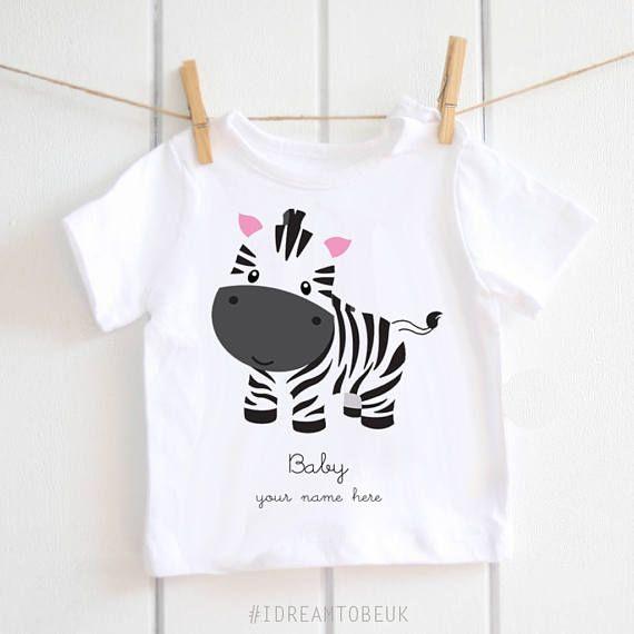 Personalised baby Tshirt baby zebra newborn toddler top