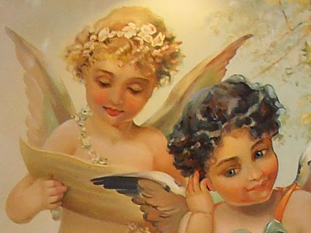 Victorian Music Angels. Fragment of mural painting.