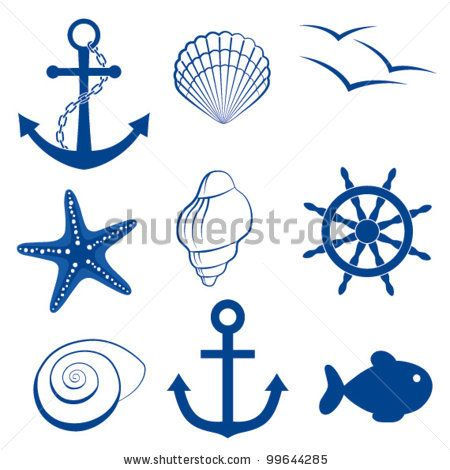 Sea Icon Set Anchor, Shell, Bird, Starfish, Wheel Stock Vector 99644285 : Shutterstock