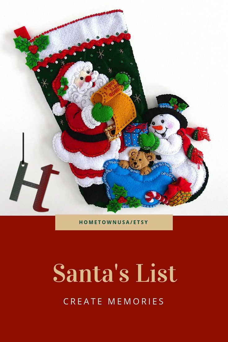 f95457595 Bucilla Christmas Stocking Finished Completed Personalized Felt Holiday  Stocking Santa s List in 2019