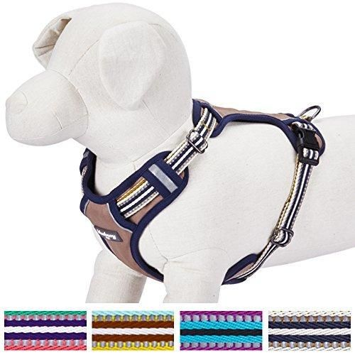 """Blueberry Pet 4 Colors Soft & Comfy 3M Reflective Multi-colored Stripe Padded Dog Harness Vest Chest Girth 22""""-26.5"""" Neck 17.5""""-26"""" Olive & Blue-gray Medium Mesh Harnesses for Dogs"""