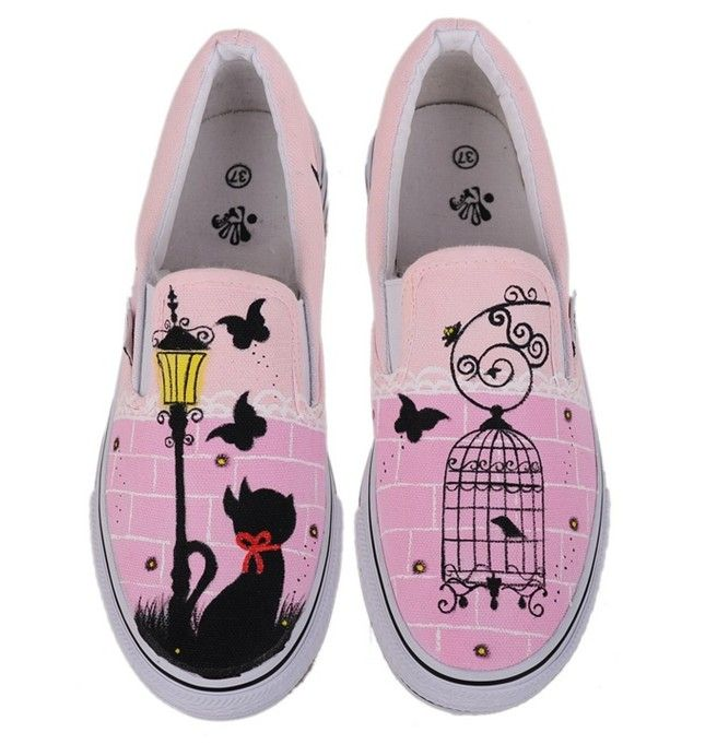 wholesale Painting canvas shoes casual fashion latest sneakers M-W-D007