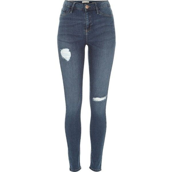 River Island Mid wash ripped Molly reform jeggings ($84) ❤ liked on Polyvore featuring jeans, jeggings, women and river island