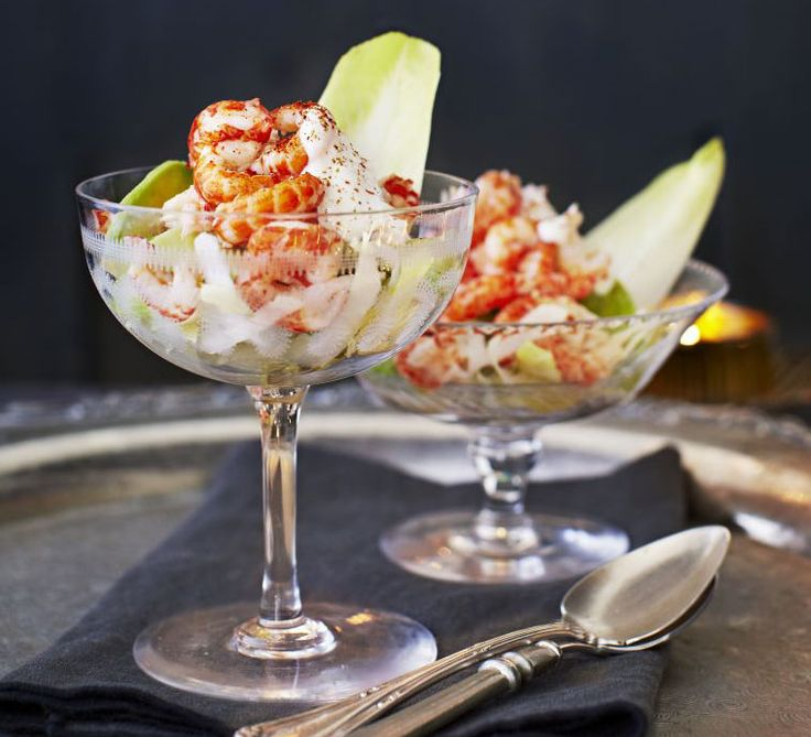 Give the classic prawn cocktail a twist by pairing crayfish tails with tangy horseradish and creamy avocado in this delicious dinner party starter