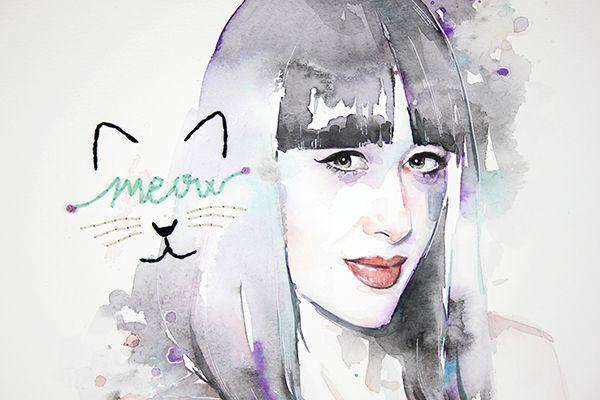 Retrato con acuarela y bordados de Natalia Ferviú por Almu Ruiz. Watercolor and embroidery Illustration
