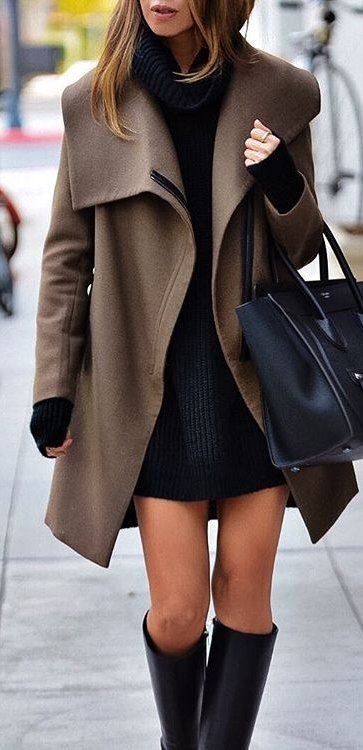 #winter #fashion / Brown Coat / Black Dress / Black Leather Tote