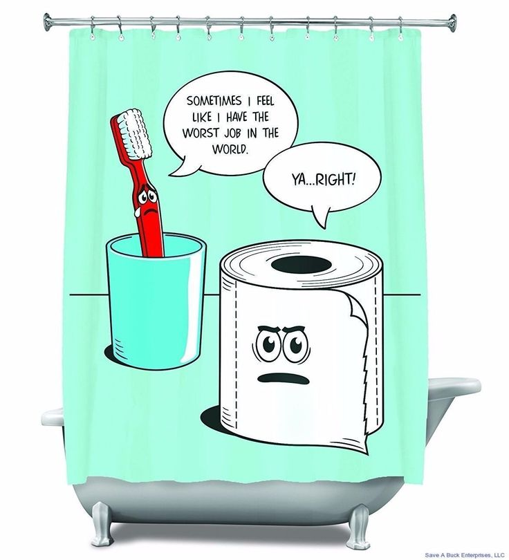 Worst Job Ever - Funny Shower Curtain Toothbrush & Toilet Paper - Bigmouth Inc.