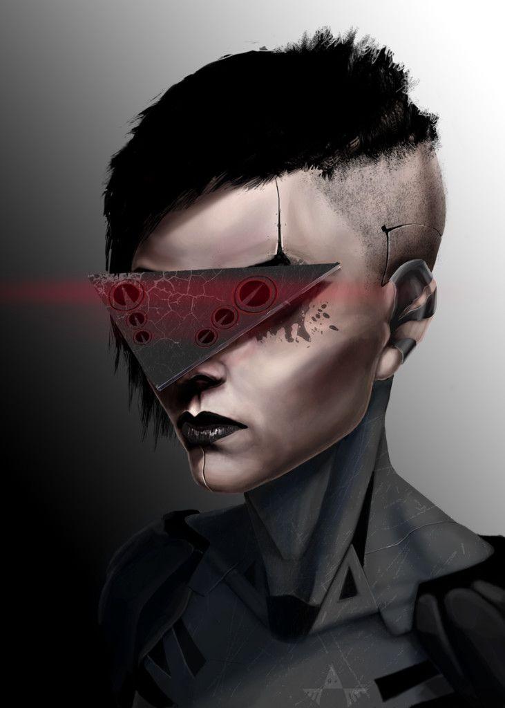 cyberpunk girl, Yura Sokolov on ArtStation at https://www.artstation.com/artwork/gxK4Q