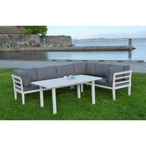 APOLLO hvit hagemøbler - hjørnesofa+bord