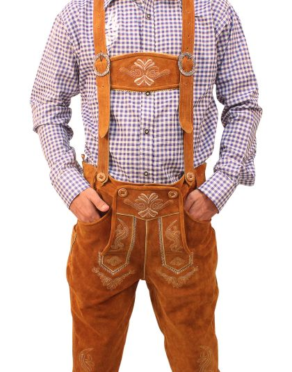 Authentic lederhosen for men. Long kniebund lederhosen and short leather trousers. Perfect german cstumes for ocktoberfest! Srylish lederhosen for men with embroidery and adjustable buckles. Buy lederhosen now for sale with a free bavarian shirt.   #Tracht #Dirndl #German #Outfits #cheap #Oktoberfest #lederhosen #bundhosen #trousers #shorts