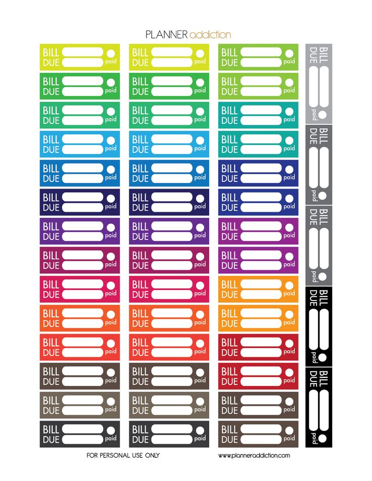 Free Printable Planner Stickers - Bill Due - Large Happy Planner