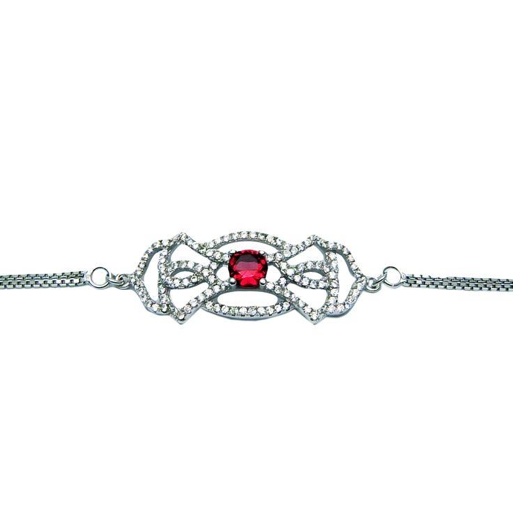 Mystic Red single-stone silver bracelet