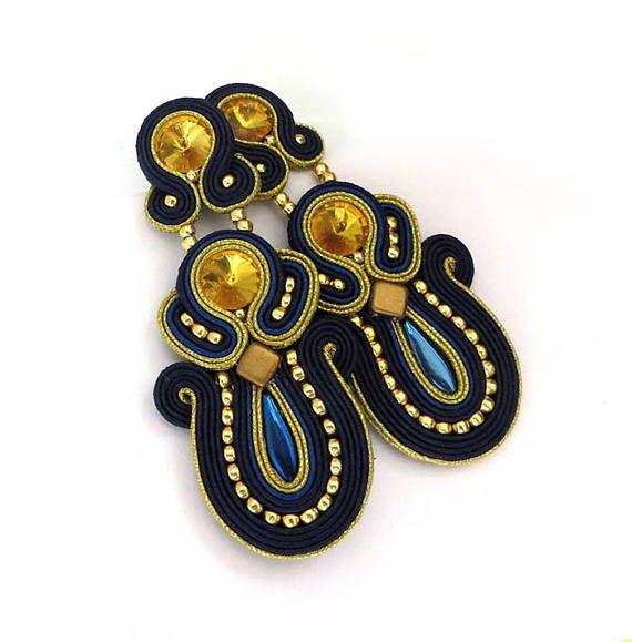 Long navy blue glod yellow earrings soutache dangle & drop