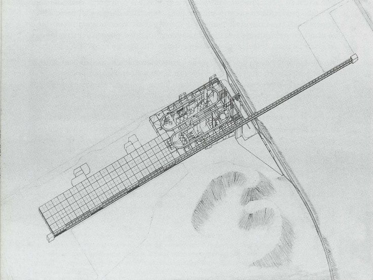 Cedric Price. Potteries Thinkbelt Project, Staffordshire, England, Perspective of Madeley Transfer Area. 1964-66